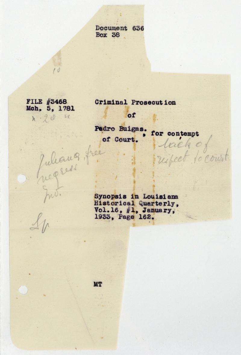 Document # 1781-03-05-01 - Louisiana Colonial Documents